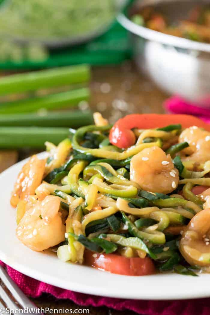Shrimp Stir Fry with Zucchini Noodles on a white plate