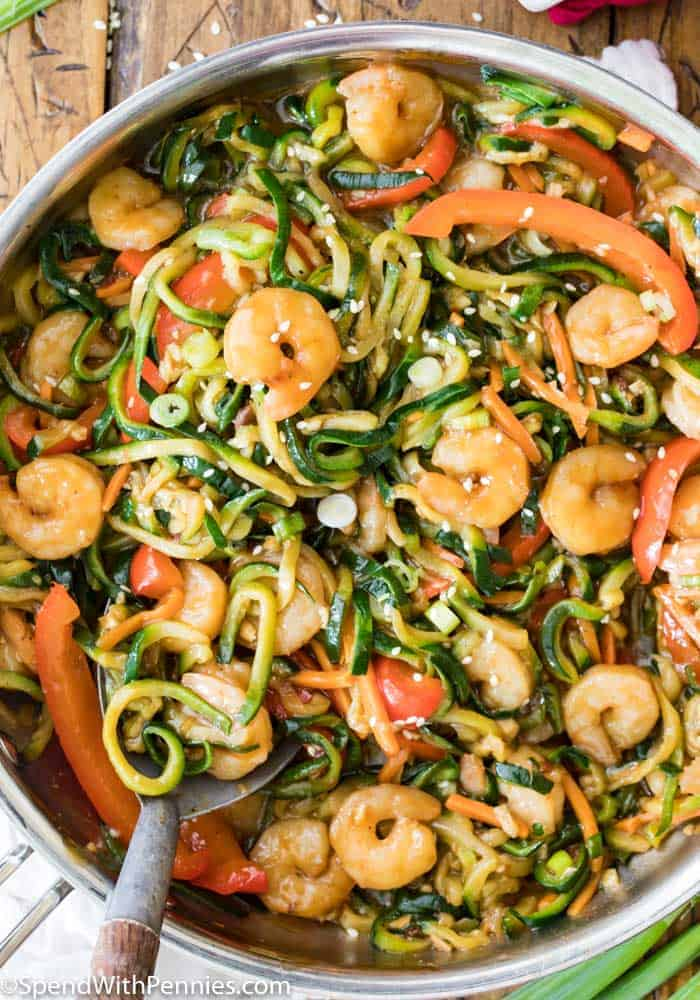 Shrimp Stir Fry with Zucchini Noodles in a pan