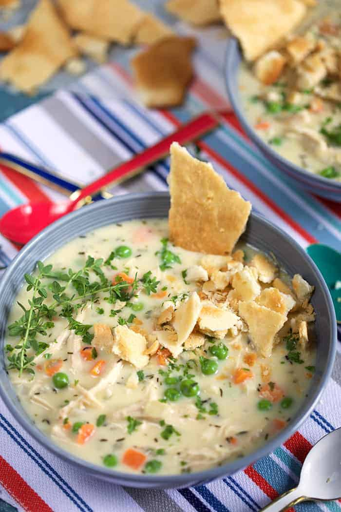 Slow Cooker Chicken Pot Pie Soup in a bowl