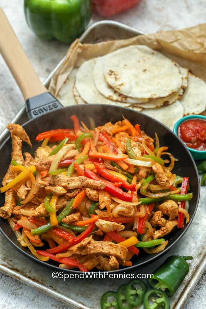 Easy Chicken Fajitas 30 Minute Meal Spend With Pennies