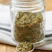 Homemade Italian Seasoning in clear jar
