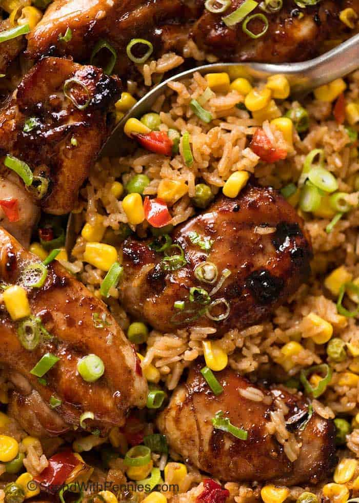 Close up of baked Chinese Chicken and Rice