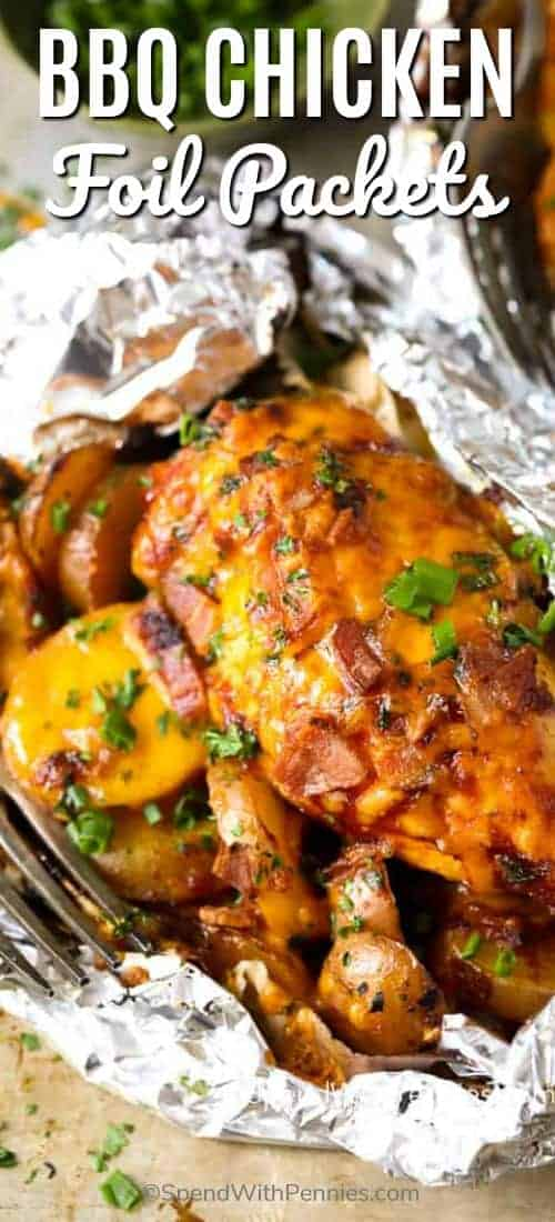 Barbecue Chicken Foil Packets are a fun and easy dinner recipe that the whole family will love. #spendwithpennies #chickenrecipe #foilpackets #easydinner #grilledchicken #withpotatoes #simpledinner #withcheese #withbacon