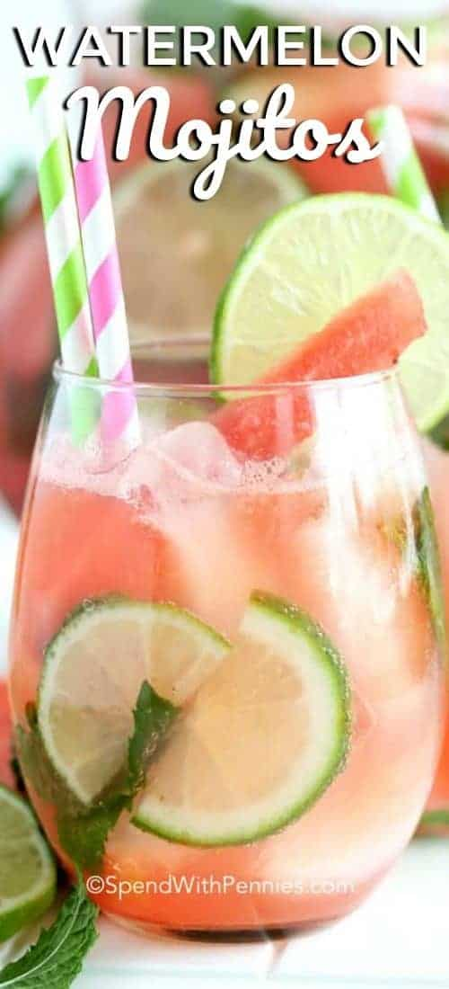 Watermelon Mojitos with a title