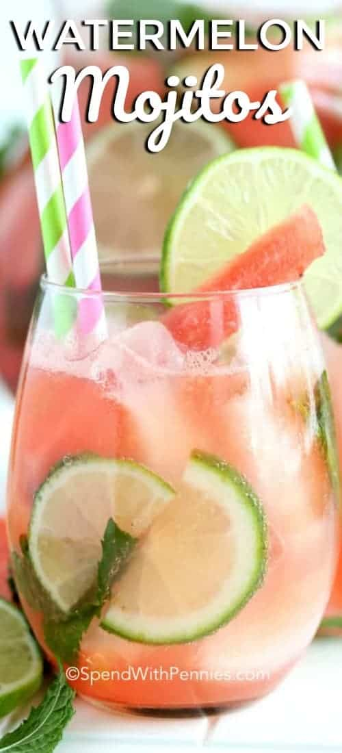 Watermelon Mojitosmake a refreshing summer cocktail! Sweet juicy watermelon, tangy lime and garden fresh mint create the perfect blend for sipping on the deck! #spendwithpennies #easymojitos #easyrecipe #summerdrink #withmint #withlime #freshrecipe