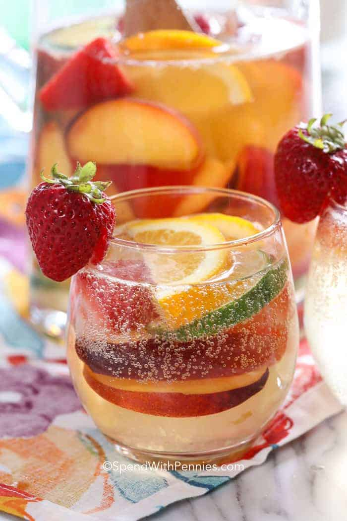 White Sangria with a strawberry in a glass