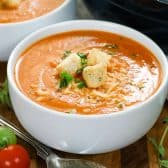 Fresh Tomato Soup in a white bowl