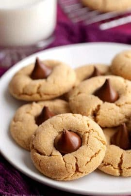 Plate of peanut butter blossoms cookies