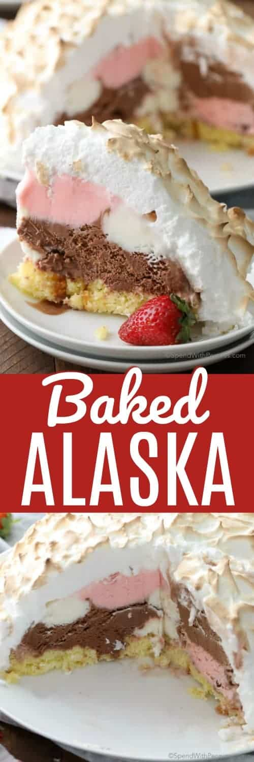 Easy Baked Alaska requires just 5 ingredients and while it looks impressive, it's very simple to make! #spendwithpennies #Bakedalaska #icecream #icecreamdessert #dessertrecipe