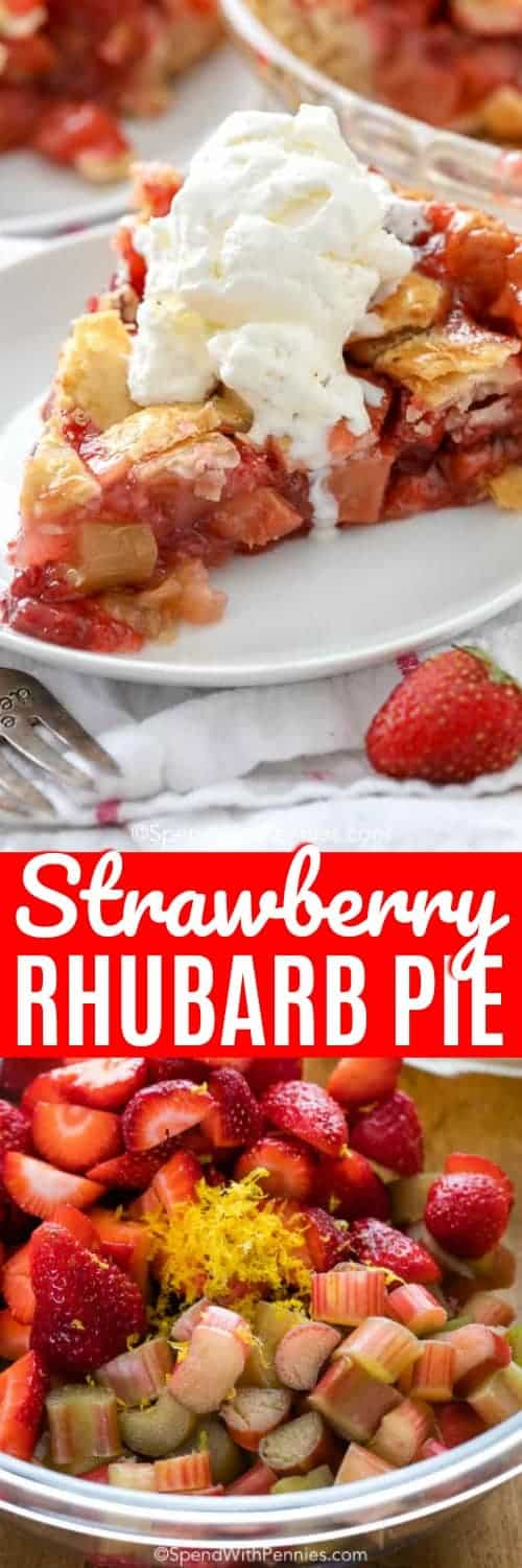 Strawberry Rhubarb Pie with a title
