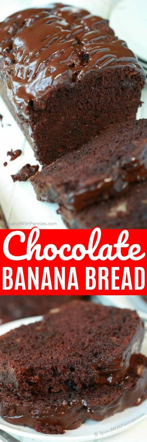 If you love chocolate, you're definitely going to LOVE this Triple Chocolate Banana Bread! With a triple load of chocolate, it's deliciously decadent and easy to make! #spendwithpennies #bananabread #easyrecipe #withchocolate #triplechocolate #easysnack #easybread #breadrecipe