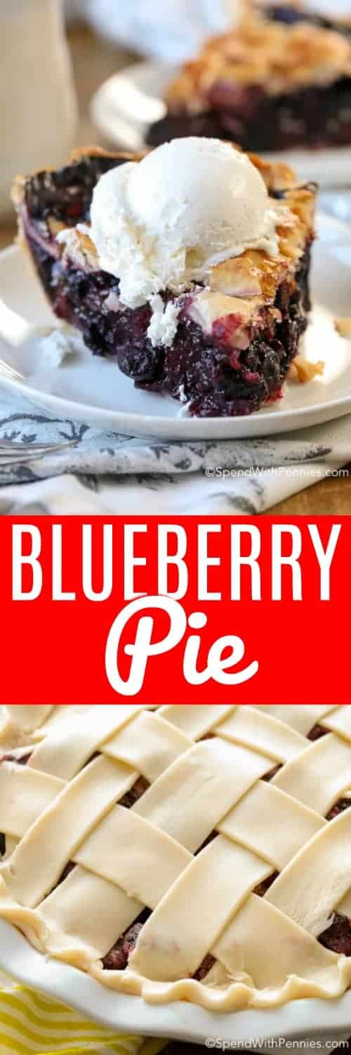 Blueberry Pie is a classic dessert that has been passed down for generations. Luscious blueberries in a sweet filling are encased in a tender, flaky pie dough and baked until golden brown and bubbly. It is truly one of life's simple pleasures. #spendwithpennies #blueberrypie #blueberries #pierecipe #easyrecipe #dessertrecipe #pie #latticecrust #summmerdessert