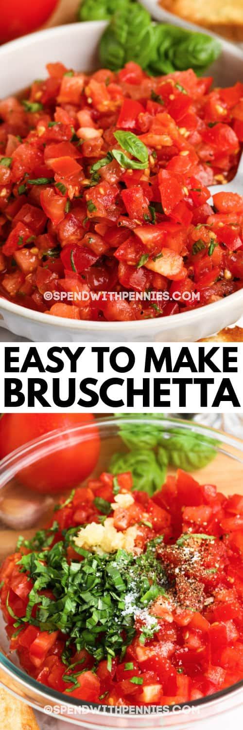 Bruschetta before and after mixing ingredients with a title
