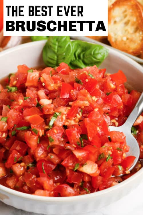 Bruschetta in a bowl with writing