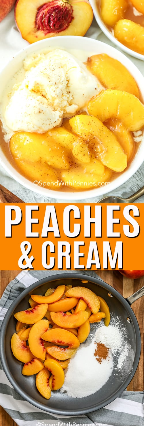 closeup of Peaches and Cream in a white dish, with peaches in the background, making peaches and cream in a skillet