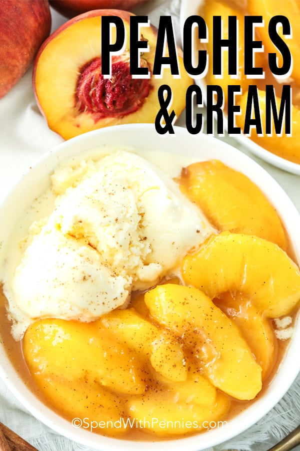 closeup of Peaches and Cream in a white dish, with peaches in the background