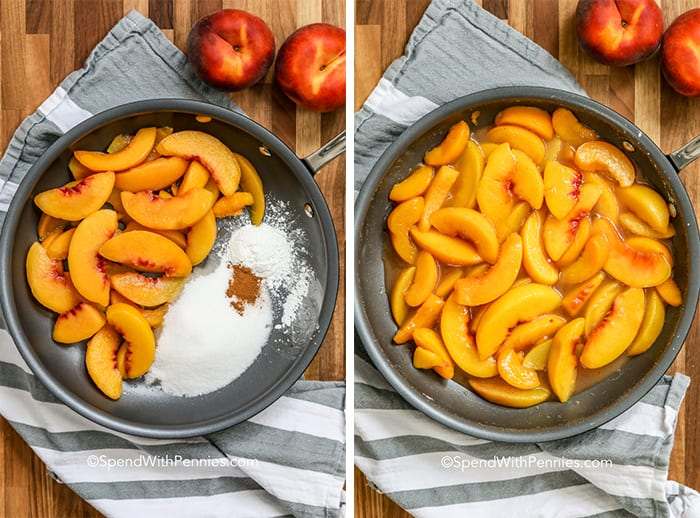 two steps to making peaches and cream, with ingredients in a skillet, and being cooked in a skillet