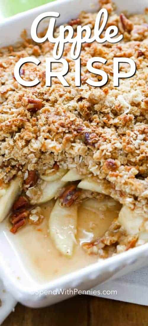 Apple Crisp is simple, homemade comfort food goodness in one delicious bite! Apple and rolled oats are the stars of this dish, however, brown sugar, cinnamon and pecans are perfect supporting ingredients to bring together a harmonious blend of flavours and textures! #spendwithpennies #applecrisp #fruitcrisp #withapples #withoats #easyrecipe #easydessert #makeahead #freezerdessert #simpledessert