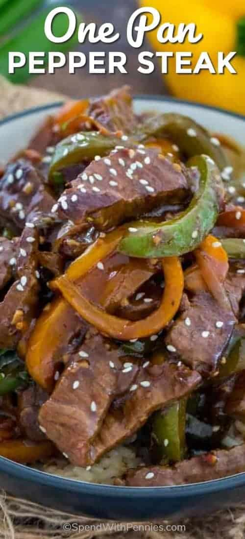 Easy One Pan Pepper Steak in a bowl served over rice