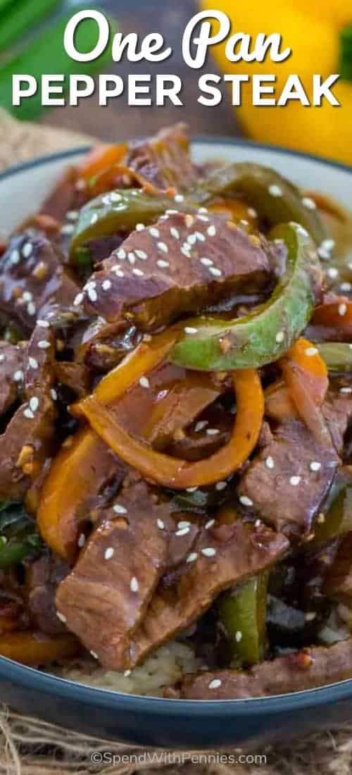 This delicious One Pan Pepper Steak recipe is a classic Chinese American dish, that you can easily make at home in just 30 minutes or less. #spendwithpennies #easyrecipe #beefrecipe #withpeppers #easydinner #onepan