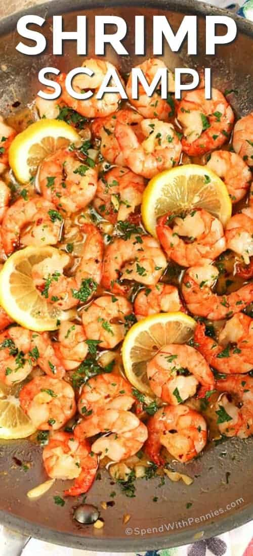 Swimming in a garlic-y white wine sauce, this Easy Shrimp Scampi Recipe is on the table in just 10 minutes! A super quick meal that's perfect for busy weeknights.#spendwithpennies #shrimpscampi #easyrecipe #easydinner #seafoodrecipe #withlemon #freshrecipe #shrimprecipe