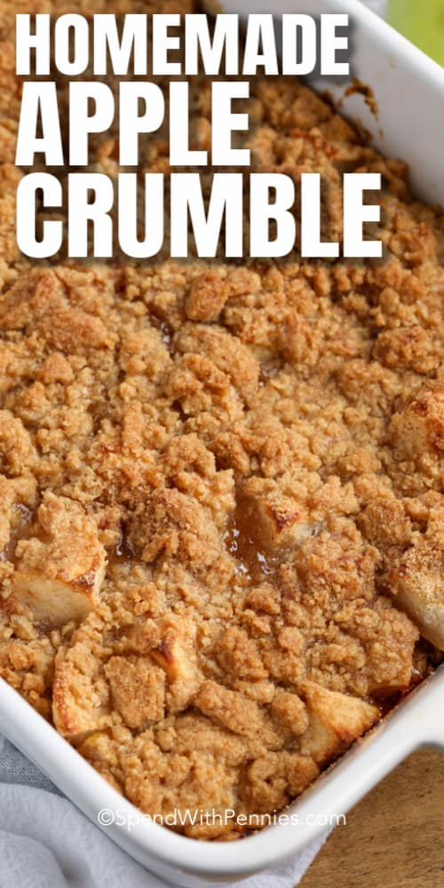 Apple Crumble in a baking dish with writing