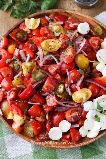 Overhead shot of Tomato Salad