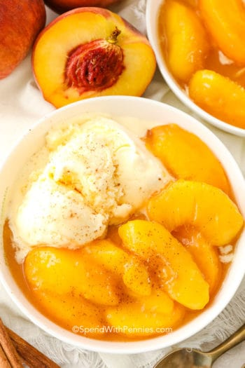 Peaches and Cream in a white dish with peaches on the side