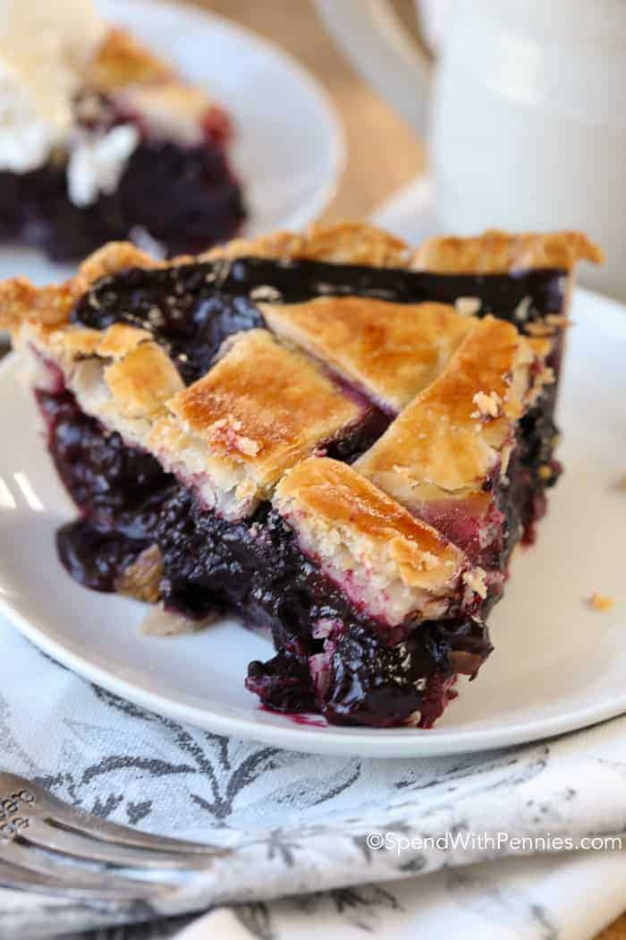 Blueberry pie on a plate
