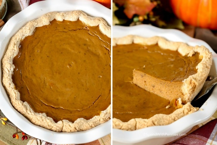 A slice of delicious pumpkin pie being served.