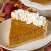 Homemade Pumpkin Pie on a white plate