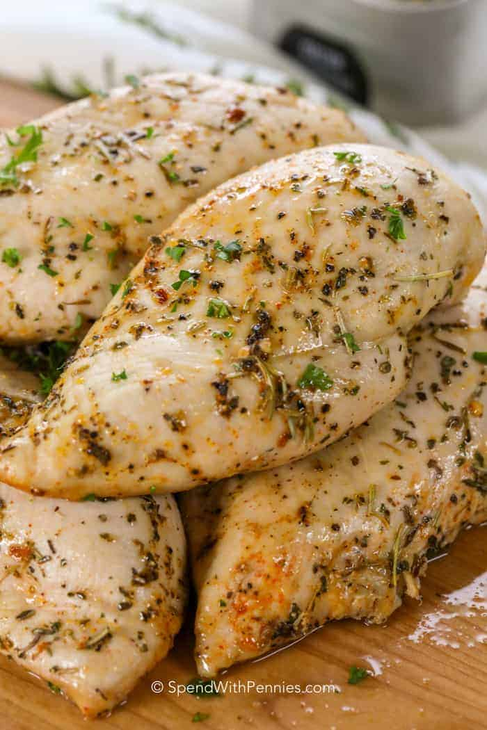 Juicy herb covered chicken breasts fresh from the oven.