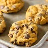 Pumpkin Chocolate Chip Cookies on baking sheet