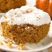 Pumpkin Dump Cake on a white plate