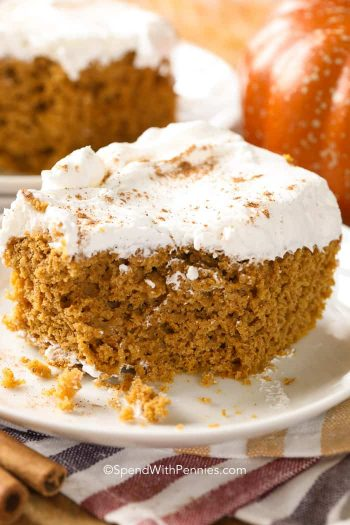 Pumpkin Dump Cake on a white plate