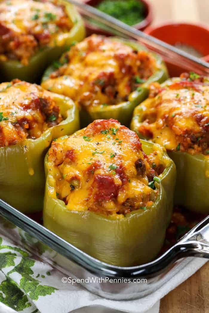 Stuffed Peppers in clear glass baking dish