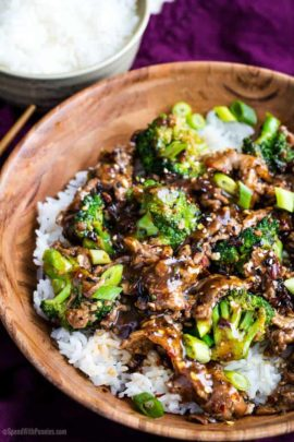 Bowl of beef and broccoli with rice