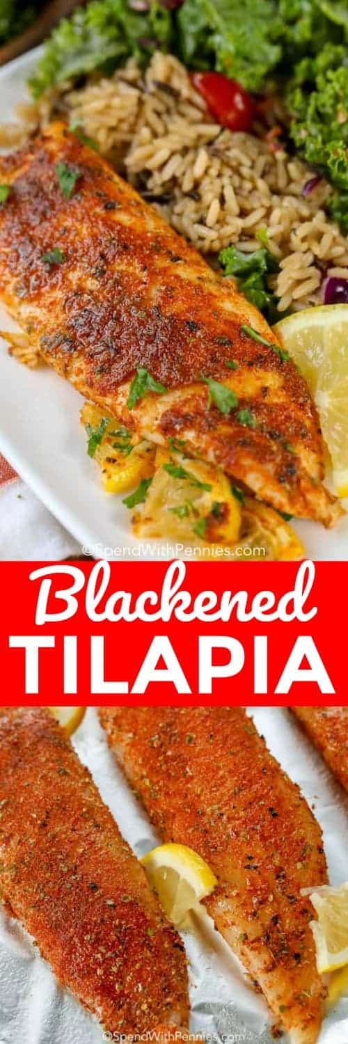 Blackened Tilapia is a delicious blackened fish recipe that is on the table in under 10 minutes!  Perfect for a quick weeknight meal and so easy to make! #spendwithpennies #blackenedfish #blackenedseasoning #fishrecipe #blackenedtilapia #tilapiareicpe #easyrecipe #quickrecipe #cajunrecipe #cajunseasoning