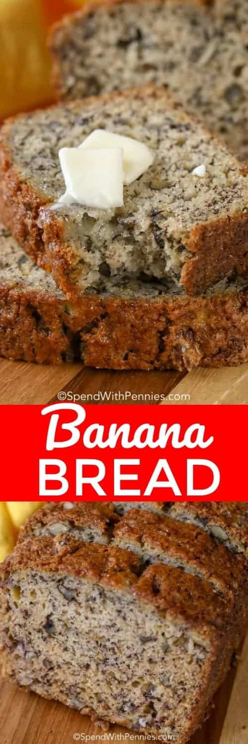 This is an easy Banana Bread recipe that makes a soft and moist banana bread. Once you try this, it'll become your go-to to use ripe bananas. #spendwithpennies #bananabread #easybananabread #quickbananabread #nofail #nofailbananabread