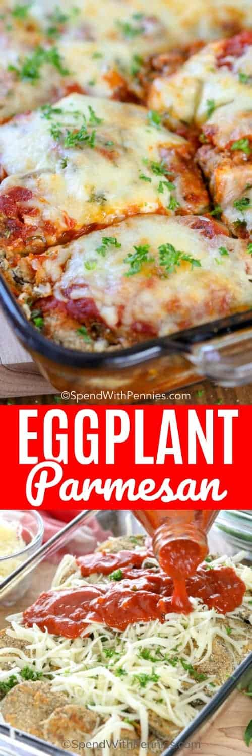 Eggplant Parmesan is a delicious classic Italian favorite! Tender eggplant is breaded in crispy breadcrumbs, then laid in a delicious bed of marinara sauce, topped with parmesan cheese, and baked until hot and melty. #spendwithpennies #eggplant #withparmesan #easycasserole #easyrecipe #easydinner