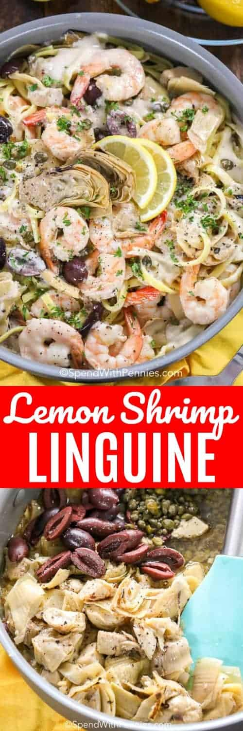 Lemon Shrimp Linguine is an incredibly flavorful pasta dish that is easy to prepare. Juicy shrimp are tossed with a lemony linguine and a creamy sauce made from shallots, artichokes, and capers to take shrimp scampi to the next level. #spendwithpennies #easyrecipe #easypasta #withshrimp #shrimpscampi #seafoodrecipe #pastarecipe