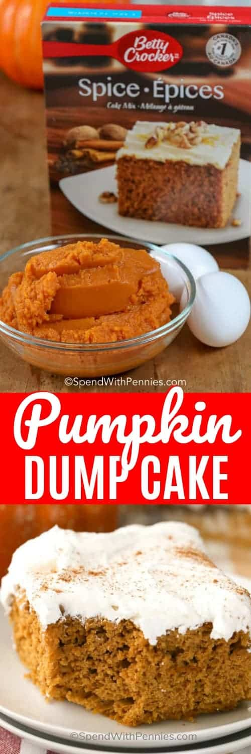 Pumpkin Dump Cake is super easy, moist and incredibly delicious! Made with only 3 ingredients, this will become your favorite go-to fall dessert! #spendwithpennies #easyrecipe #simplerecipe #dumpcake #withpumpkin #fallrecipe #cakerecipe #pumpkinrecipe #cakemix