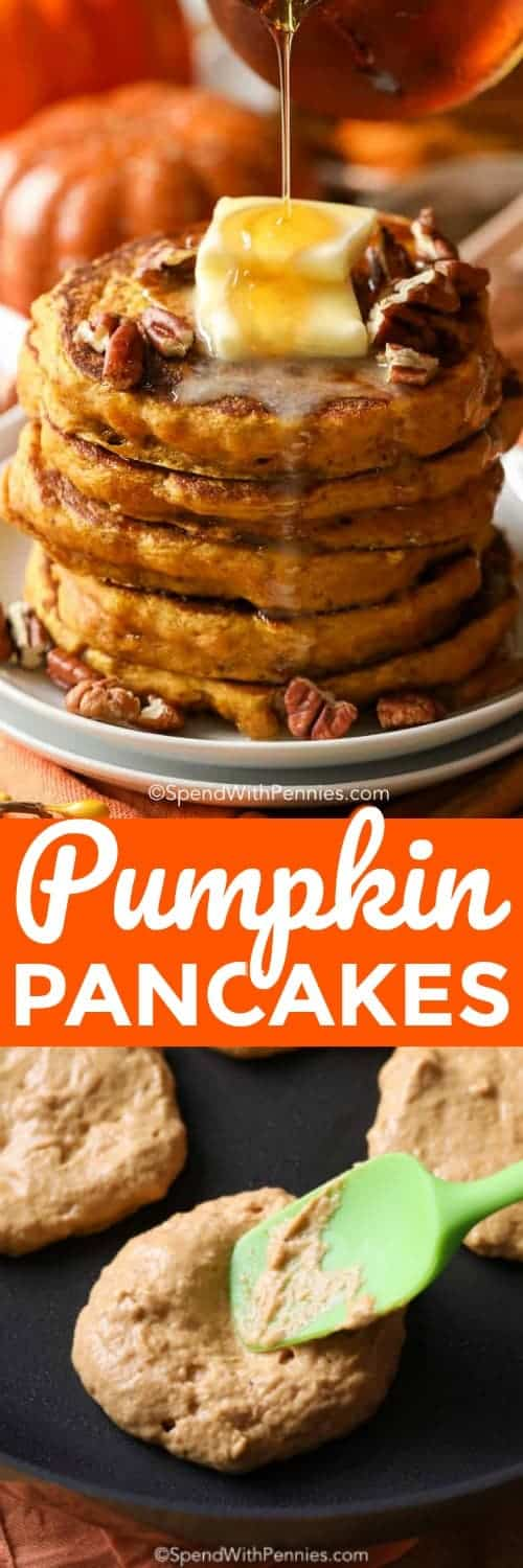 Pumpkin Pancakes are perfectly spiced with pumpkin puree, warm fall spices and a touch of brown sugar. #spendwithpennies #pancakes #pumpkinpancakes #pancakerecipe #pumpkinrecipe #breakfastrecipe #pumpkinspice