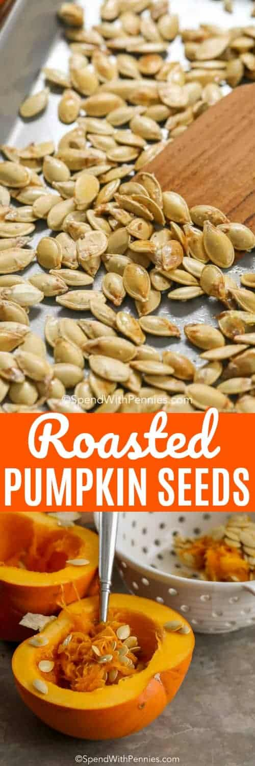 Pumpkin Seeds are a delicious, crunchy treat that is so easy to make right at home! What a great way to use every inch of your pumpkin as you hollow it out to make a jack-o-lantern this halloween season! #spendwithpennies #roastedpumpkin #pumpkinseeds #easysnack #easytopping #withseasoning #fallfavorite #harvesttreat