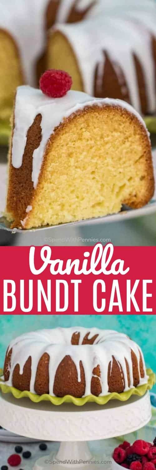 Vanilla Bundt Cake is a beautiful and elegant dessert, with a rich and buttery crumb and subtle vanilla flavor. Topped with a sweet and easy vanilla glaze. #bundtcake #glaze #vanillabundtcake #spendwithpennies #cake #classicrecipe