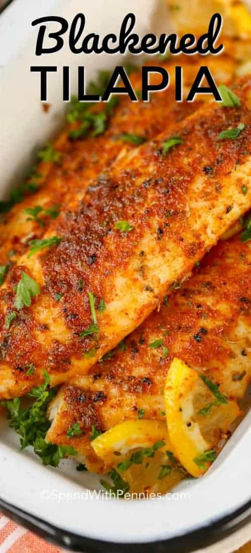 Blackened Tilapia starts with an easy homemade blackened seasoning mix. This blackened fish recipe is on the table in under 10 minutes making it the perfect weeknight meal! #spendwithpennies #blackenedfish #blackenedseasoning #fishrecipe #blackenedtilapia #tilapiareicpe #easyrecipe #quickrecipe #cajunrecipe #cajunseasoning