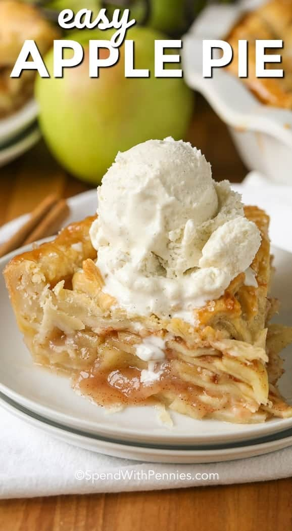 :ayers of tender juicy apples piled high in a flaky pie crust, this easy apple pie recipe is a favorite. Cinnamon, sugar and juicy apples are the perfect classic combination.  Serve this with ice cream or a slice of cheddar for the perfect dessert! #spendwithpennies #applepie #applepierecipe #bakedapples #easyapplepie #pierecipe #dessertrecipe #appledessert #easyaspie