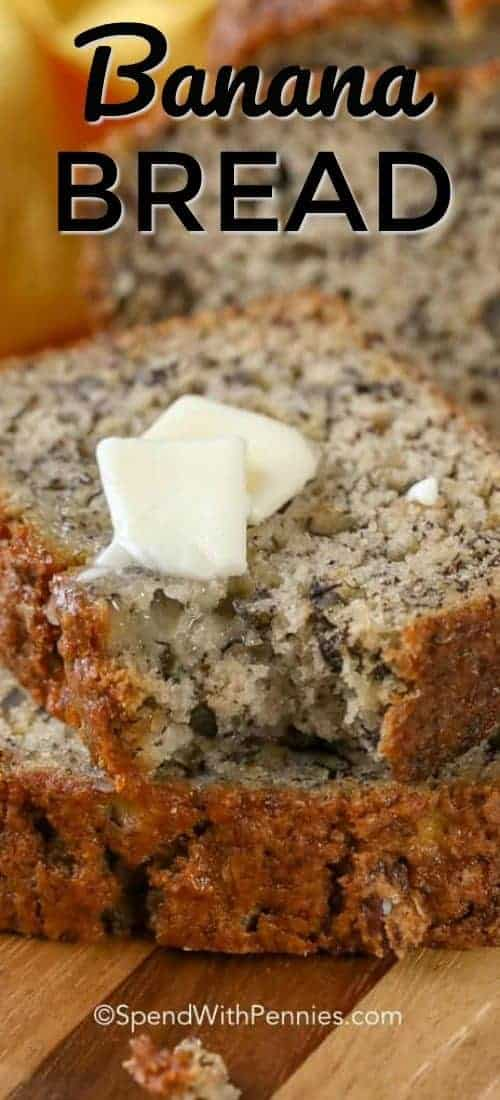 A slice of Easy Banana Bread with butter