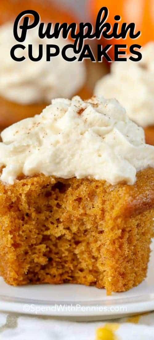 Pumpkin Cupcakes are the perfect fall dessert for any pumpkin lover! #spendwithpennies #pumpkin #pumpkinpie #pumpkincupcakes #pumpkinrecipe #pumpkindessert #thanksgiving #friendsgiving #thanksgivingdessert #falldessert