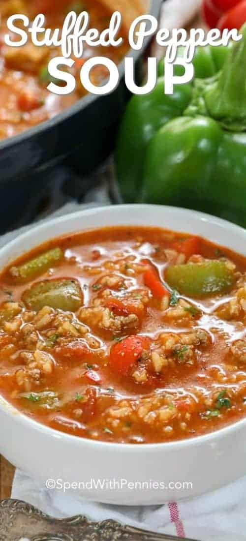 Stuffed Pepper Soup in a white serving bowl